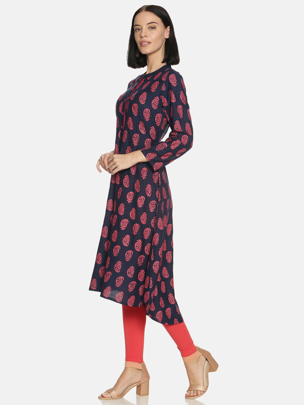 Navy Blue Rayon All Over Print Kurta