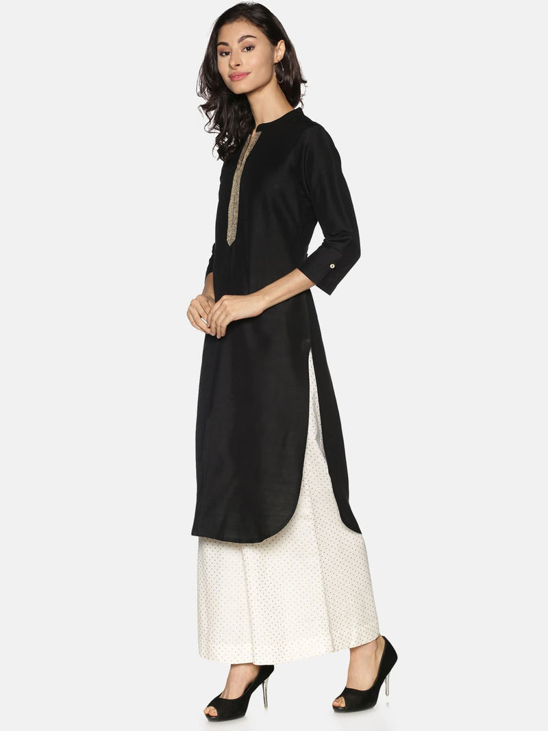 Black Slub Kurta with Gold Embroidery on Neck