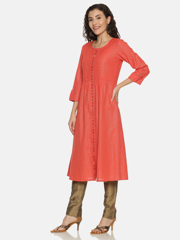Coral Lurex Checked Kurta With Embriodery Placket