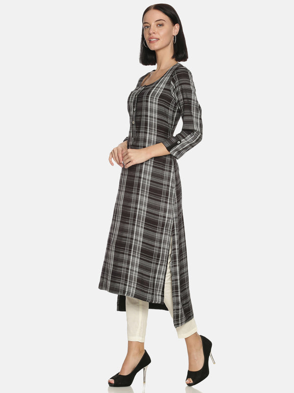 Black Check Kurta With Round Neck And 3/4 Rollup Sleeves