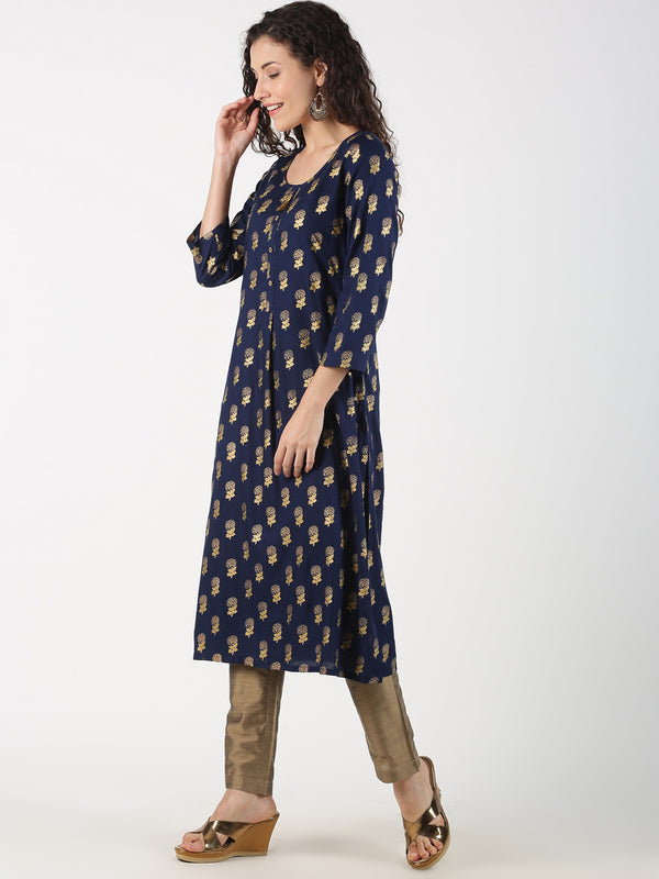 All Over Gold Print Navy Blue Rayon Kurta