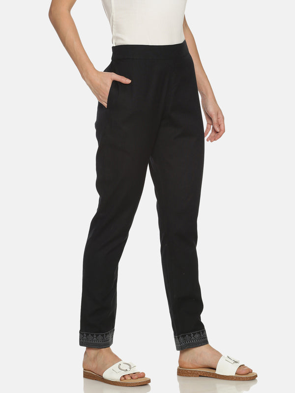 Black Straight Cotton Flex Embriodered Pants