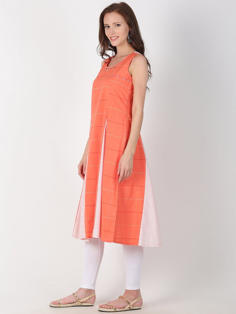 Coral Cotton Checks Kali Kurta