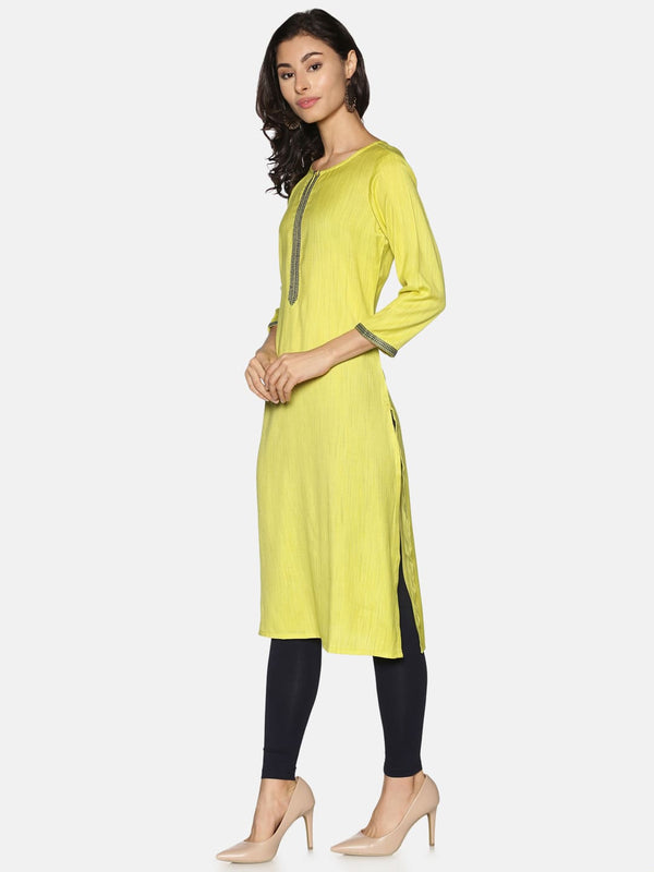 Lime Green Straight kurta with Embroidery Placket