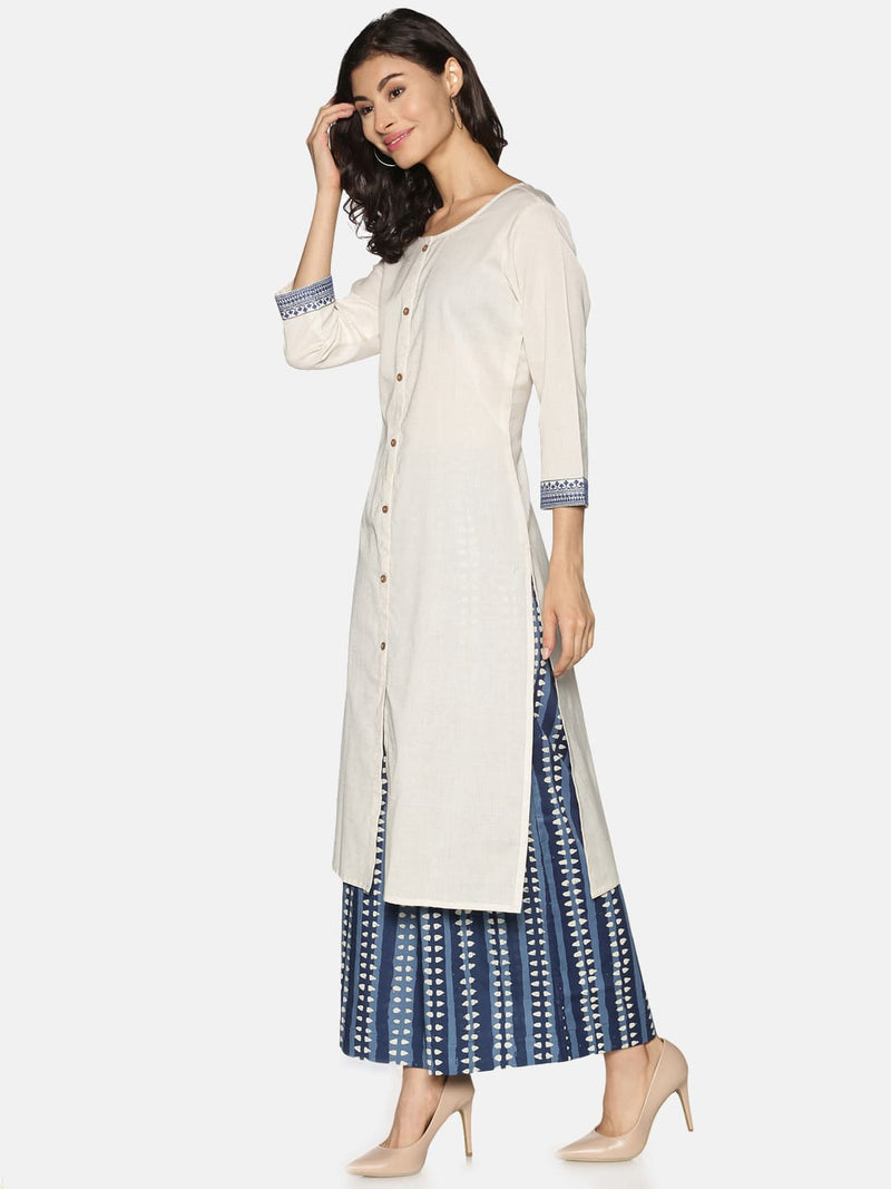 Off White with Blue Embroidered Sleeve Kurta