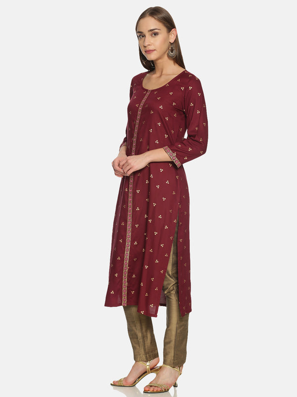 Burgundy Kurta With Gold Print