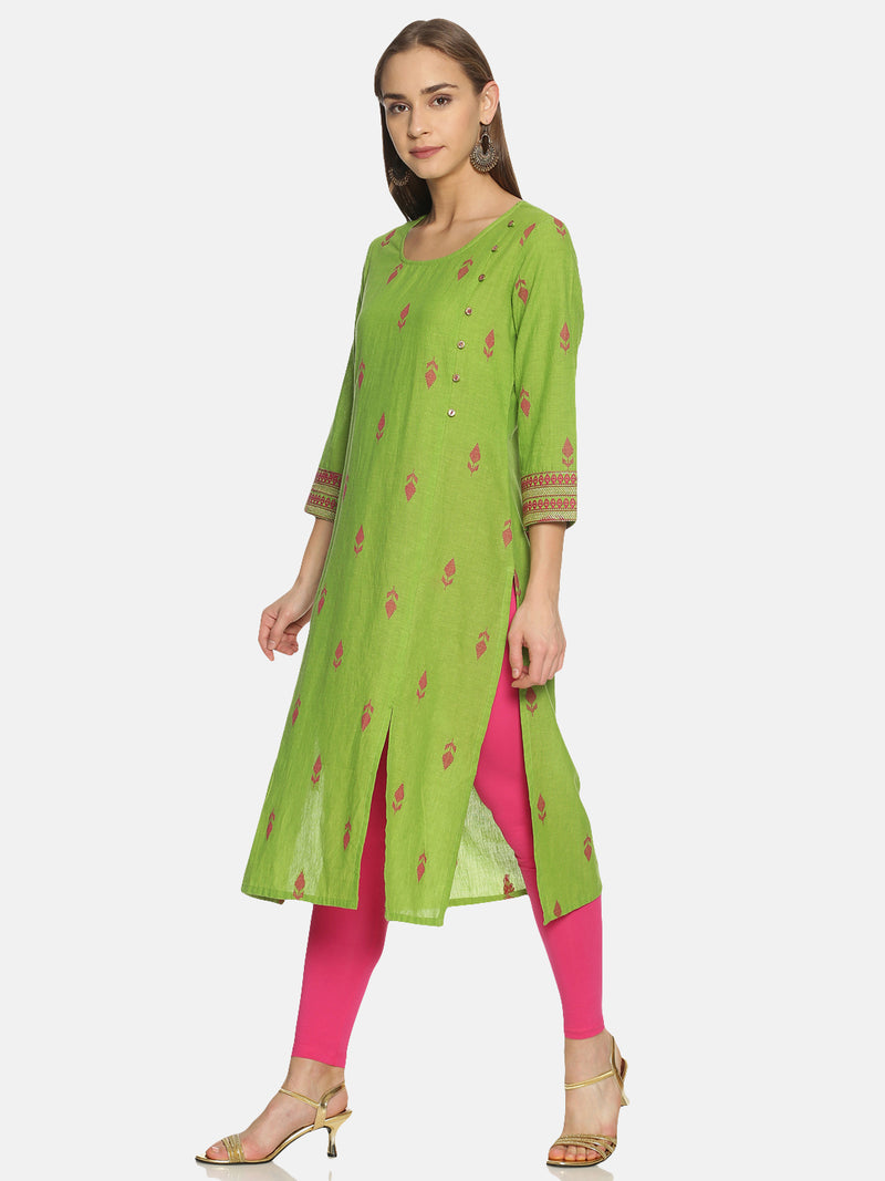 Green Kurta With Woven Buti Design