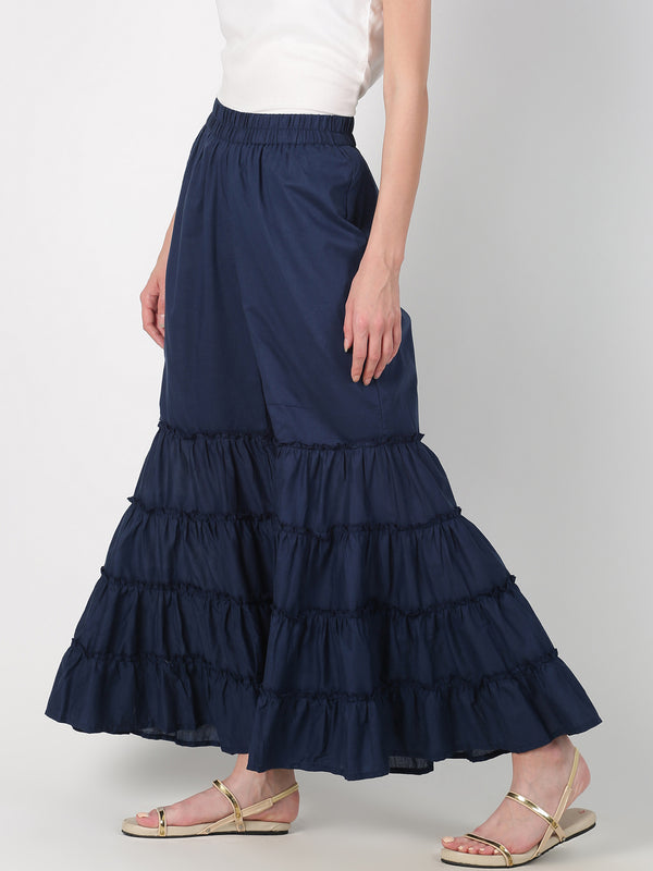 Navy Blue Cotton Mal Tiered Palazzo
