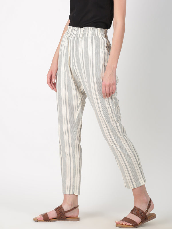 Off White Stripe Straight Pant