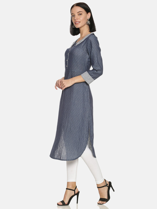 Blue Dobby Double Cloth Cotton Kurta