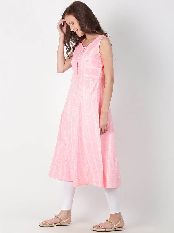 Light Pink Cotton Woven Design A-Line Kurta