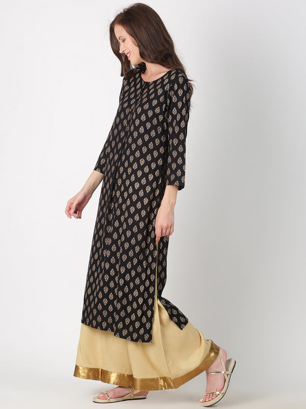 Black Rayon All Over Print Kurta