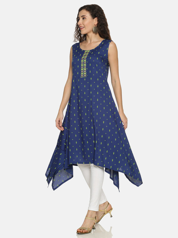 Royal Blue Rayon Prinited Handkarchief Kurta
