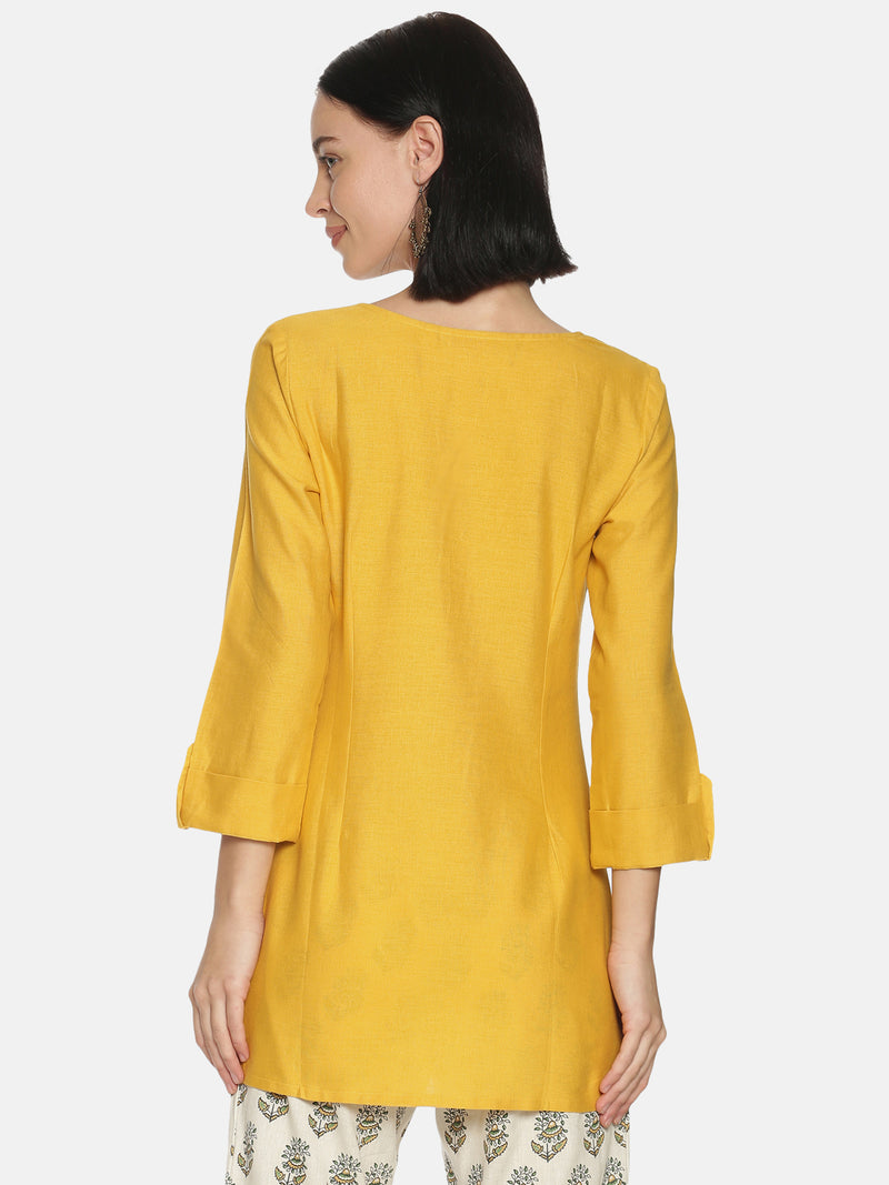 Mustard Self Embroidered Tunic