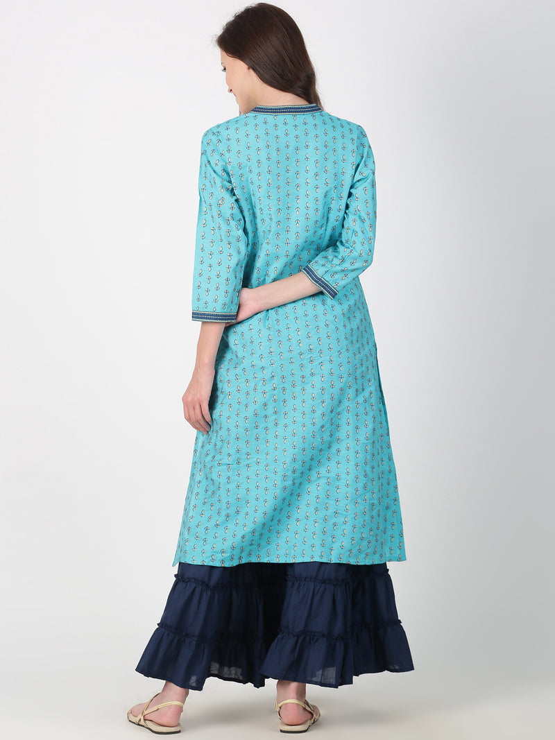 Turquoise Blue Rayon Slub Kurta With Print And Collar Embroidery