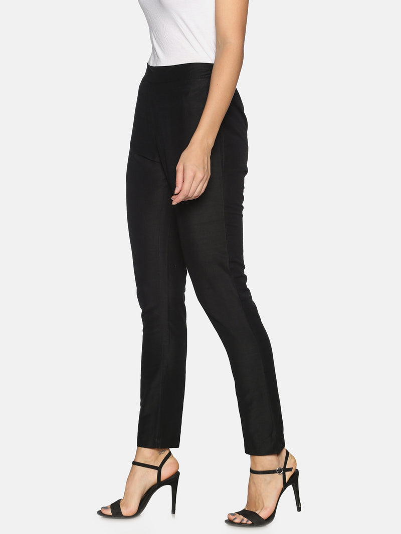 Pack of 2 Rayon Slub Trousers Black and Off-White