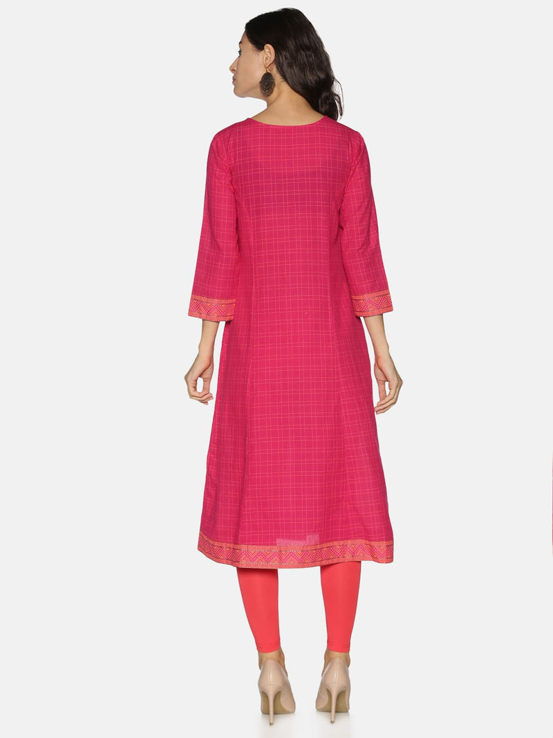 Pink Checks Kurta