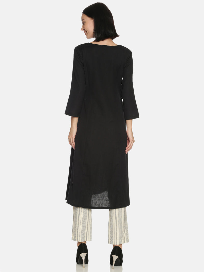 Black Core Kurta with Tonal Embroidery