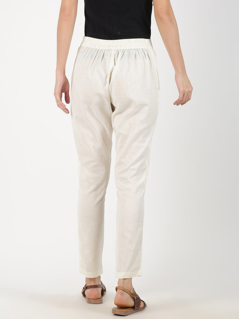 White Cotton Flax Straight Pant