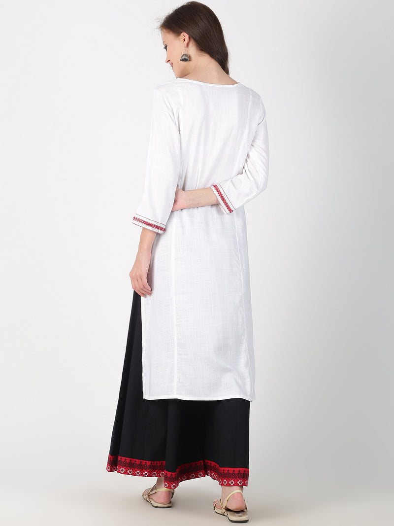 Red Bandhni Print White Kurta With Embroidery On Sleeves