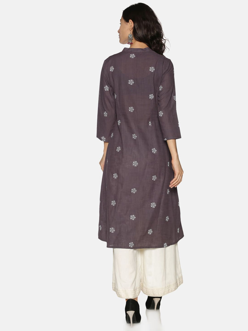 Mauve Cotton Chikankari Yoke Embroidery and Print Kurta