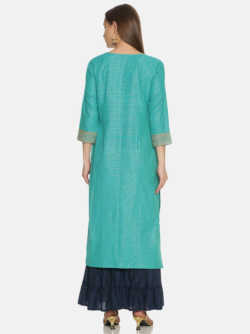 Turquoise blue Cotton Kurta With Gold Checks Lurex