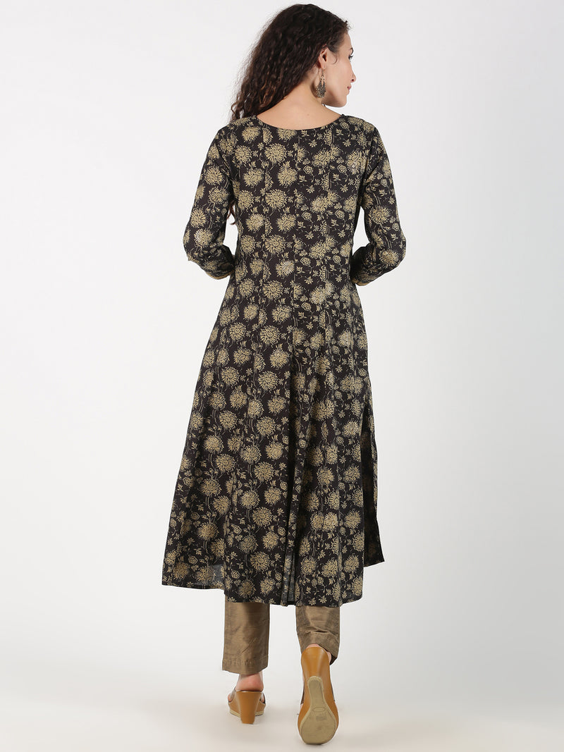 Black Jaipur Print Flair Kurta