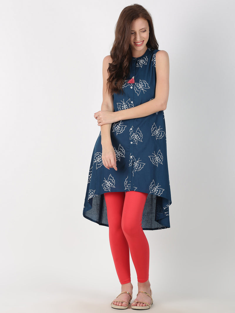 Navy Blue Printed Cotton A-Line High Low Hem Kurta