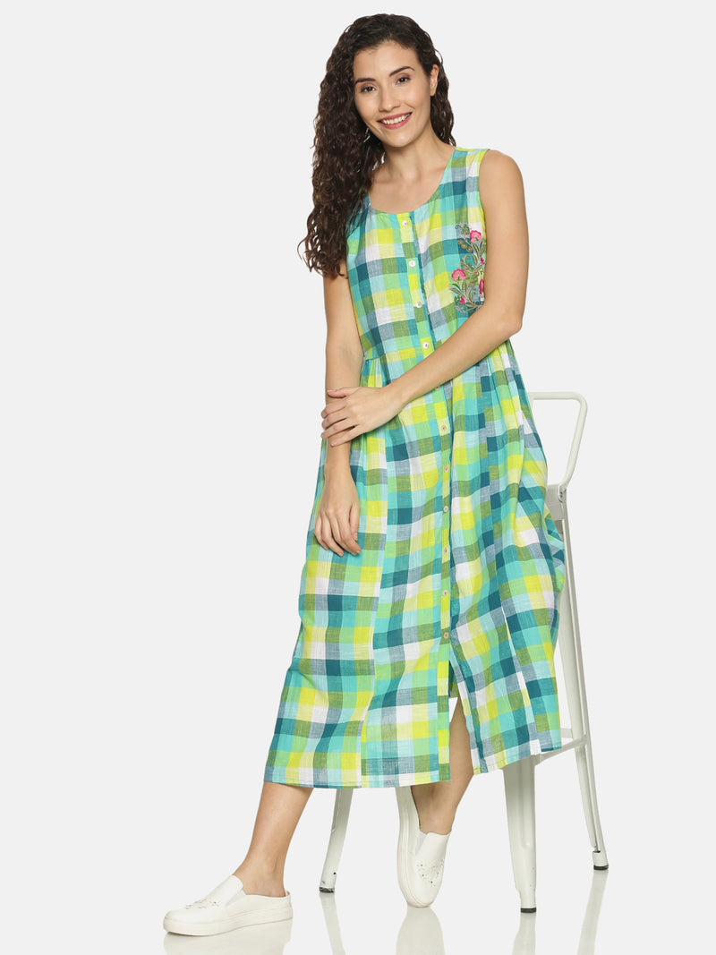 Green Cotton Checks Sleeveless Kurta with Embroidery