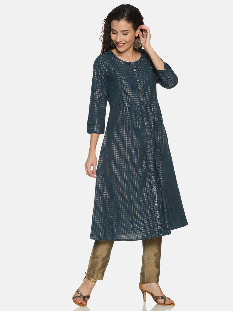 Teal Lurex Checked Kurta With Embriodery Placket
