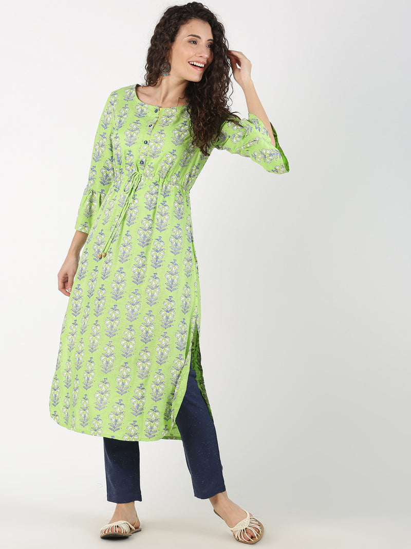 All Over Print L.Green Kurta With Flared Sleeve
