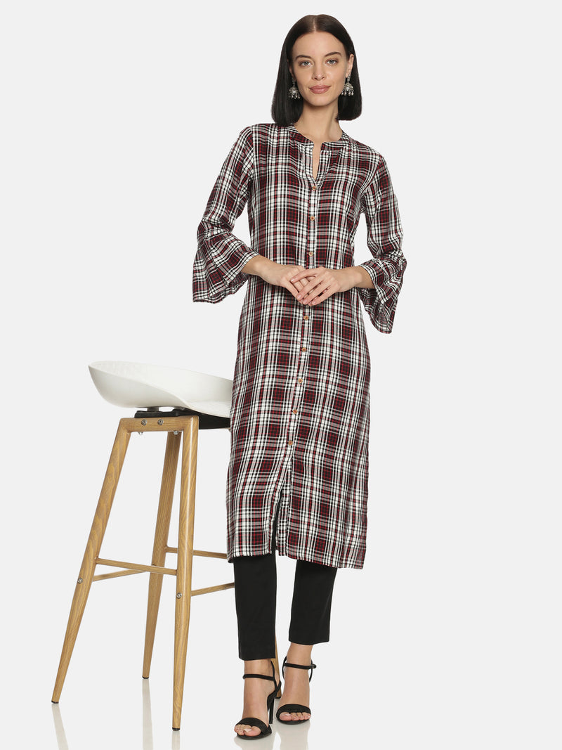 Black Cotton Check Kurta With Mandarin Collar