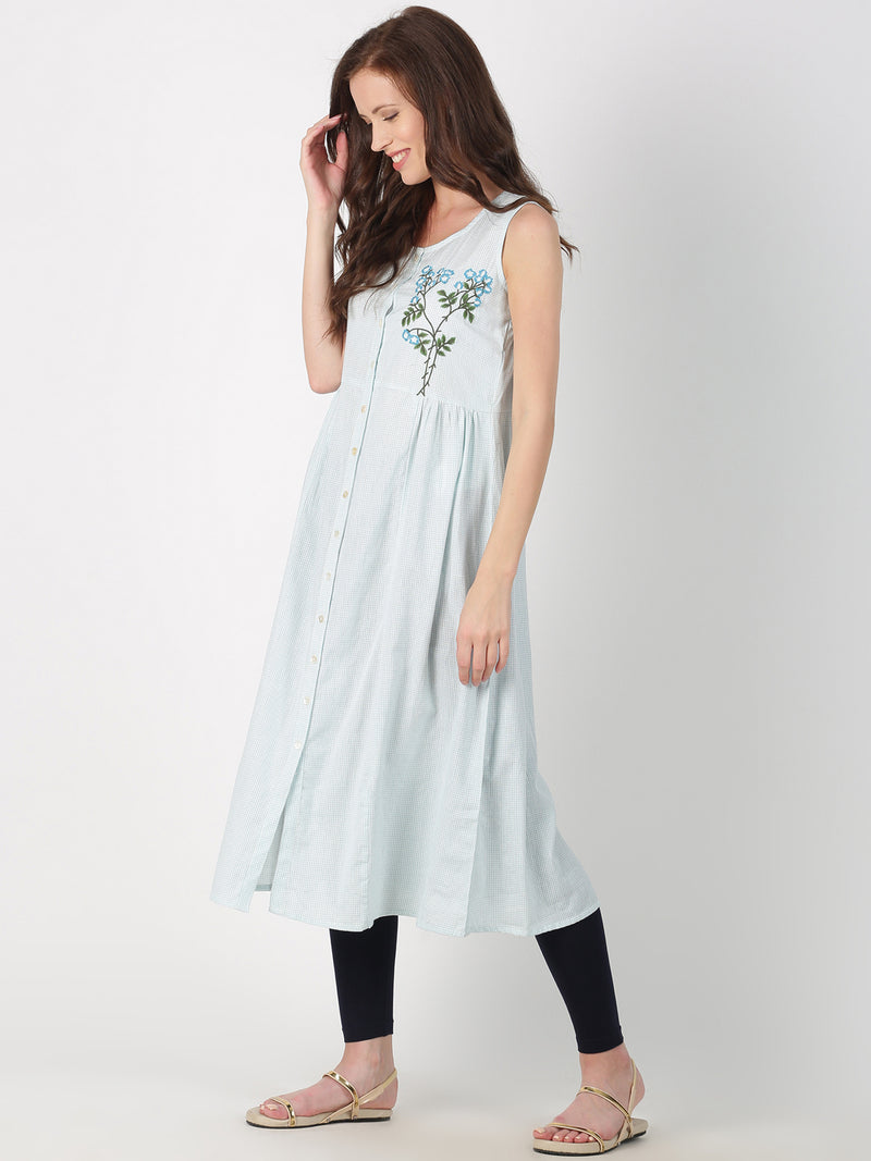 Light Blue Cotton Kurta With Placement Embroidery