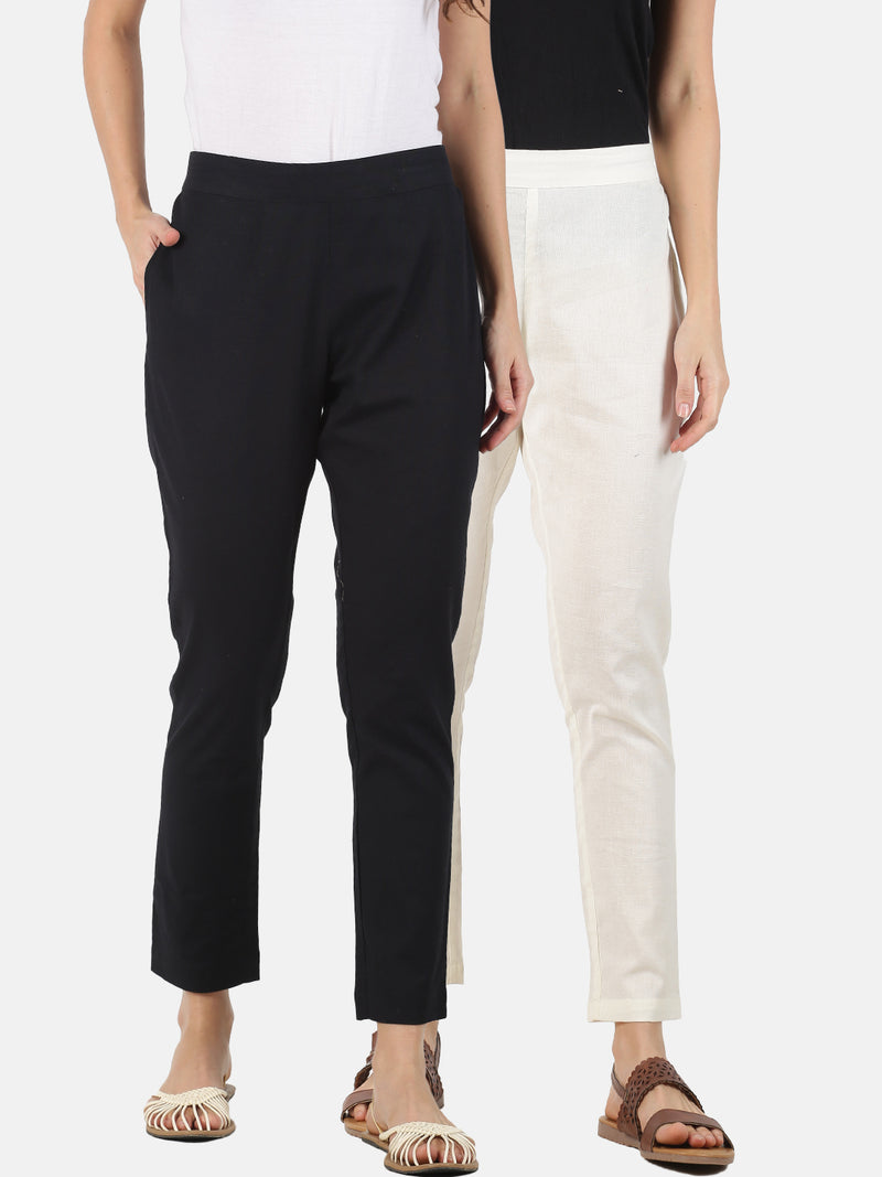 Pack of 2 Trousers Black and White Cotton Flax