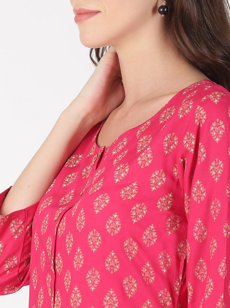 Pink Rayon All Over Print Kurta