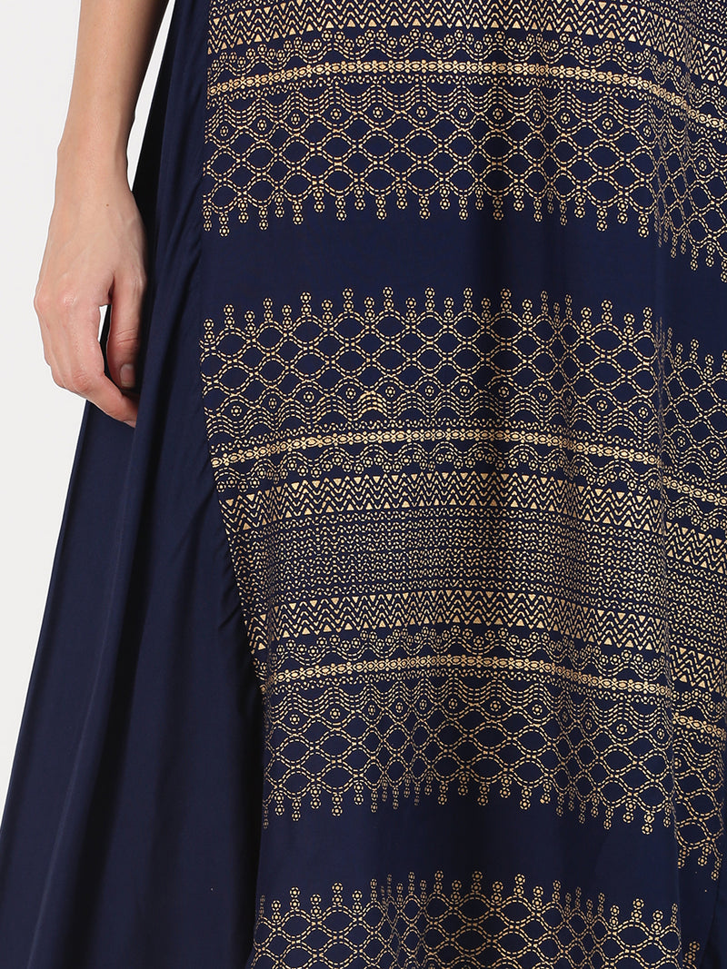 Navy Blue Kurta With Gold Print And Side High Low Hem