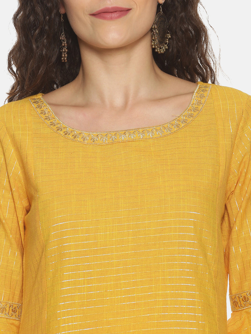 Yellow Lurex Stripe Kurta