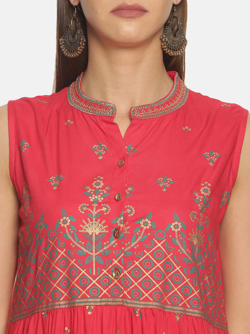 Pink Kurta With All Over And Placement Print
