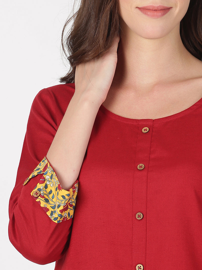Maroon Kurta With 3/4 Rollup Sleeves