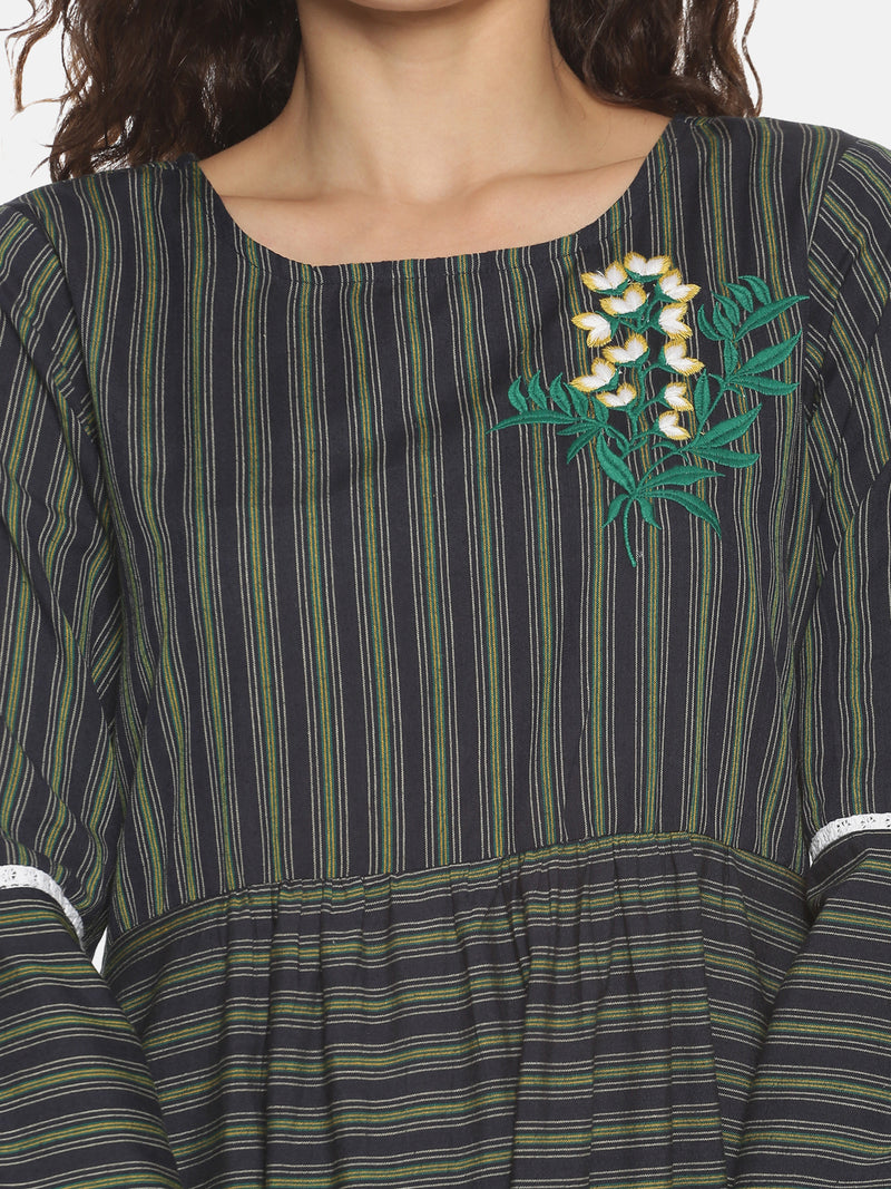 Navy Blue Stripes Dress with Embroidery