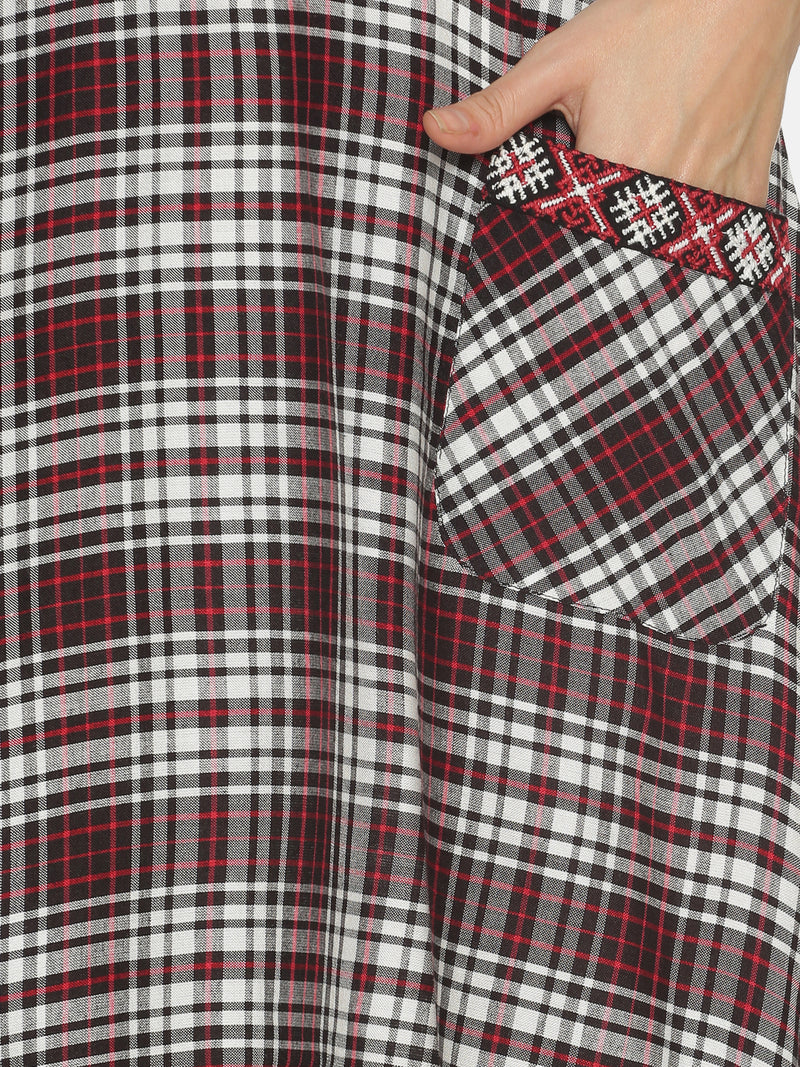Black & Red Checks This Or That With Embroidered Pocket