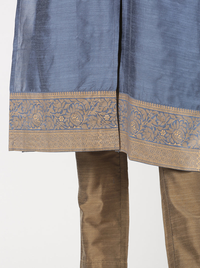 Blue Rayon Slub Kurta With Gold Print Cuff & Hem