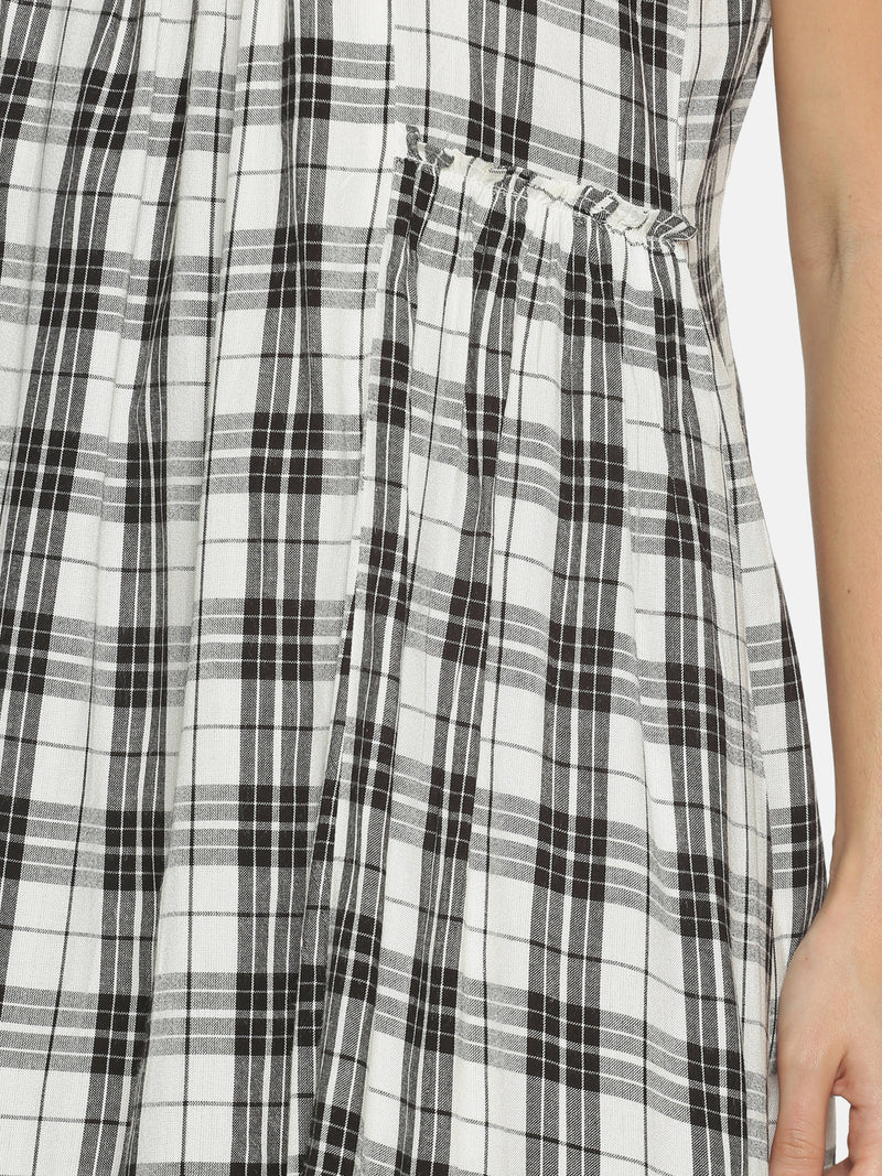 White Cotton Checks Dress