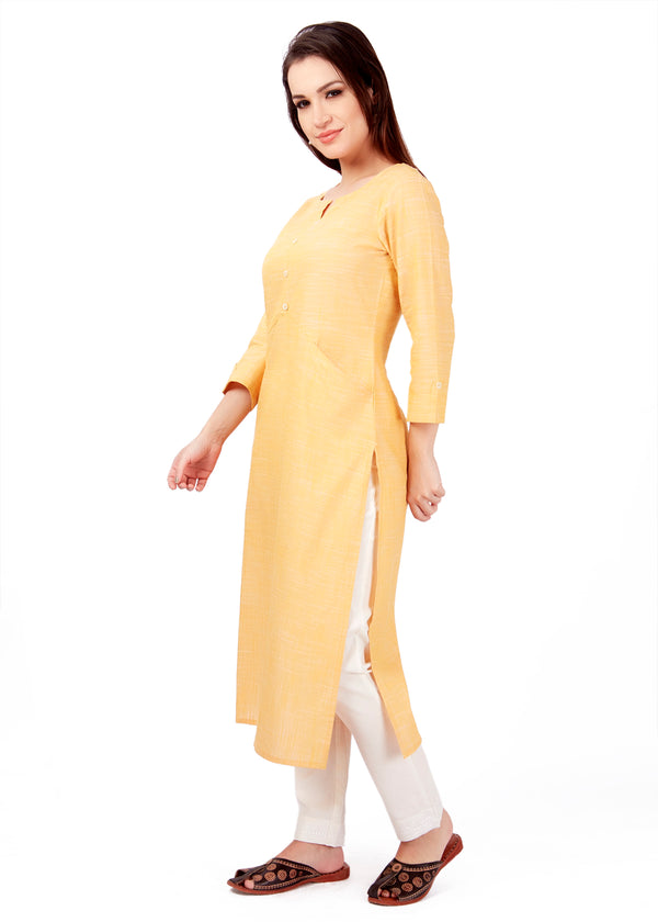 FRONT POCKET PLAIN KURTA ROUND NECK KURTA YELLOW