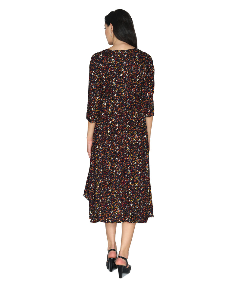 PRINTED THIS OR THAT KURTA WITH HIGH LOW HEM