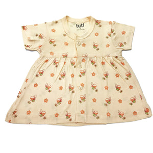 Frock Cream short sleeve with all over angel print (MRP inclusive of all taxes)