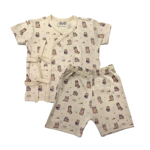 Front Open with bands Suit Cream Short Sleeve/ half pant with cat prints (MRP inclusive of all taxes)