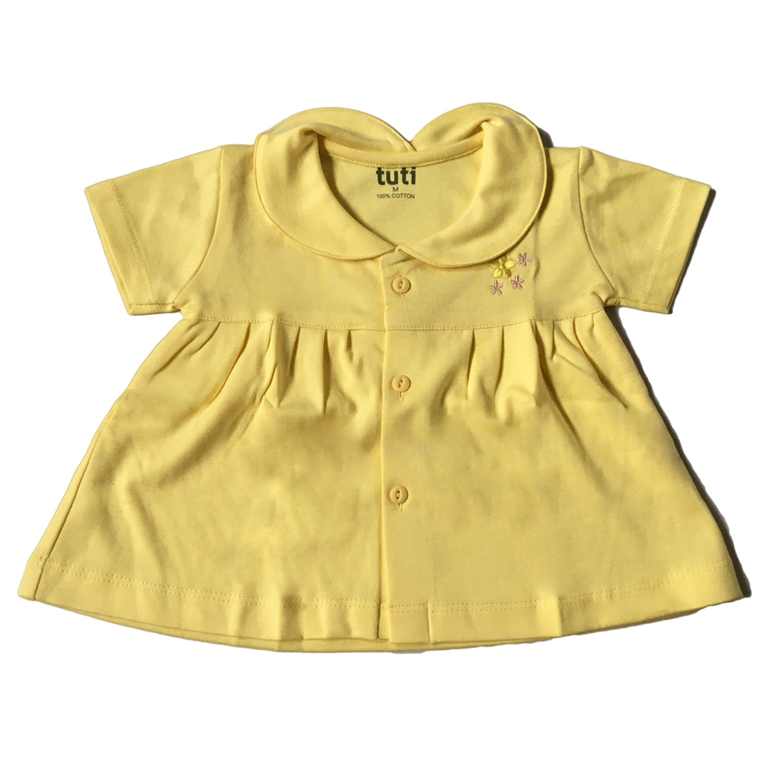 Collar Frock Yellow Short Sleeve with flower embroidery (MRP inclusive of all taxes)