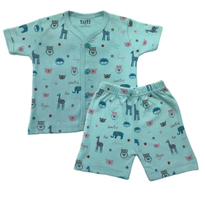 Front Open Baba Suit Blue Short Sleeve/ half pant with Multi-colour animal print (MRP inclusive of all taxes)