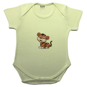 Onesies Lime Green Short Sleeve with tiger print (MRP inclusive of all taxes)